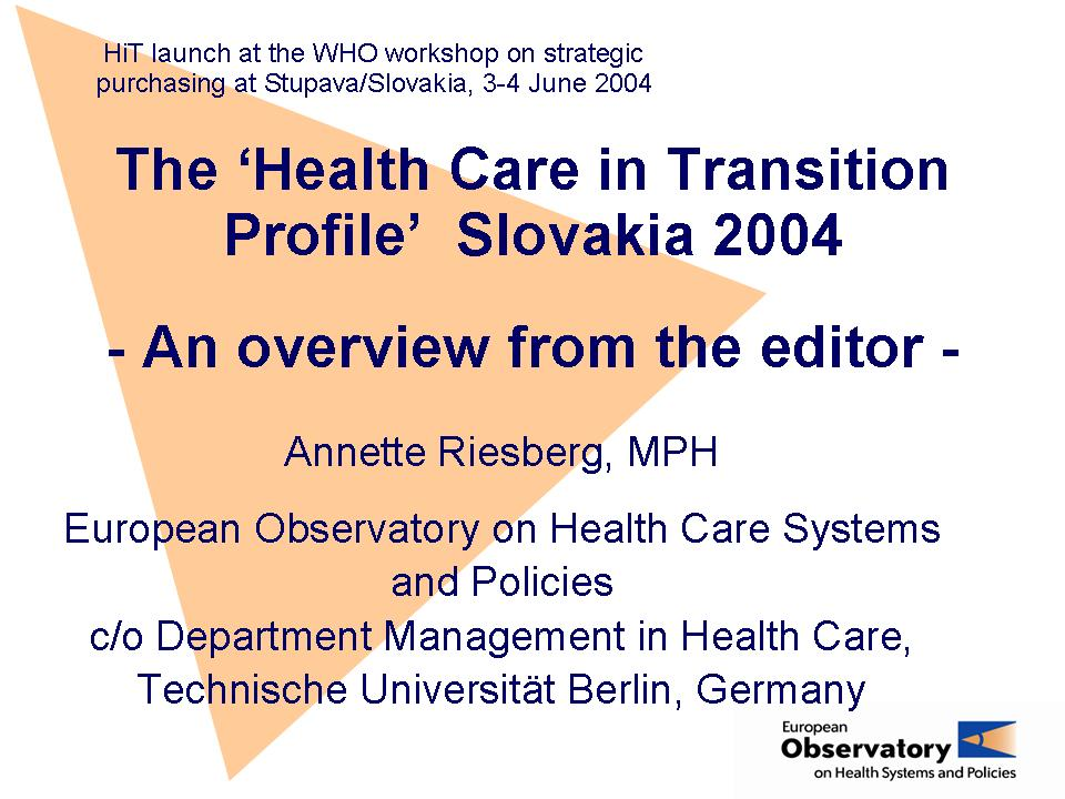 Health Care Systems In Transition European Observatory